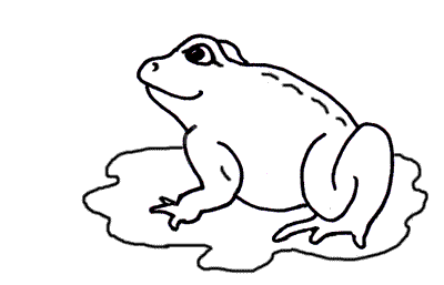 The frog sits in the puddle with a grin; from the free children's online story 