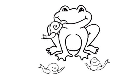 Bad Frog with a snail in his mouth, from the free kids' ebook Bad Frog at Work