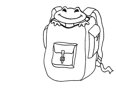 Bad Frog inside the rucksack; from the free kids' ebook Bad Frog at School