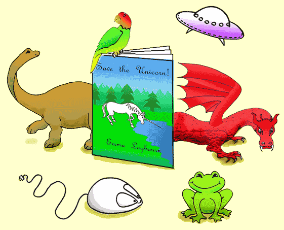 book characters including a dinosaur, dragon and Bad Frog