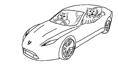 the two cats in the sports car, waving and jeering at the dogs