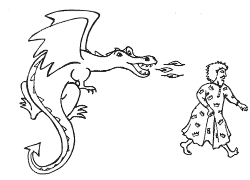 The King runs away from the dragon in the free children's ebook Dragon Dilemma
