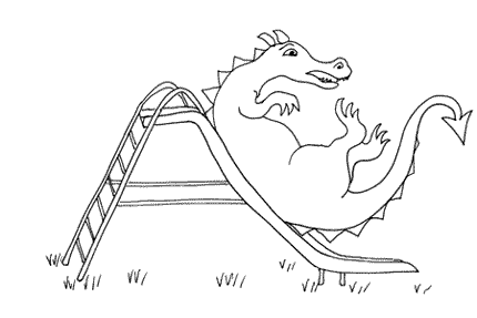 The dragon goes down the slide