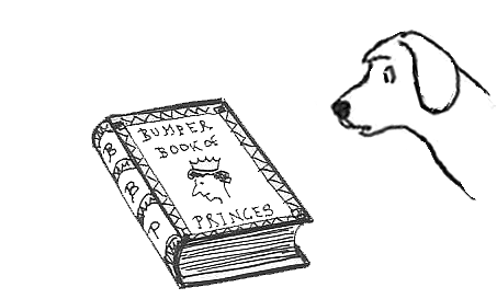 a puzzled dog studies Fifi's Bumper Book of Princes
