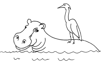 Humdrum the hippo with Widewing the heron on his back