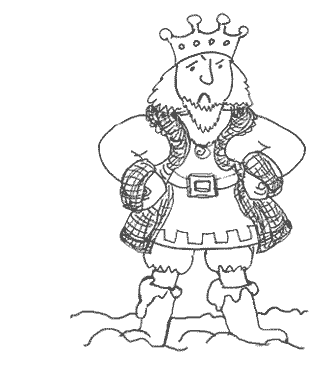 The King with his boots full of custard, from the free kids' ebook The Marvellous Moat