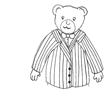 A portrait of the strangely furry Mr Podge, the bear-teacher in the free kids' online story Mr Podge's Porridge