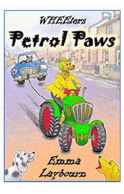 the cover of Petrol Paws by Emma Laybourn, a free kids' ebook about a dog 