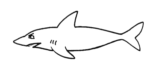 A hungry-looking shark, from the kids' free online book Sharkbiter by Emma Laybourn