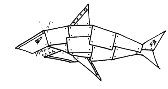 Sharkbiter, the ferocious robot shark from the free online kids' book Sharkbiter