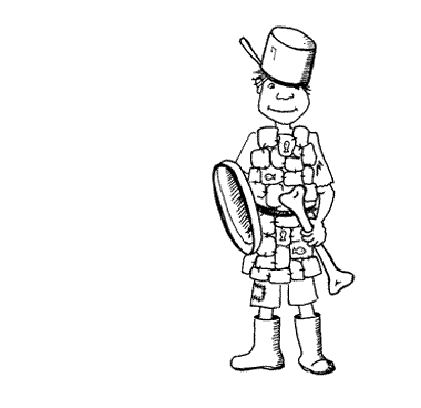 Sir Egg the small knight, in his sardine tin armour, from the free kids' story 