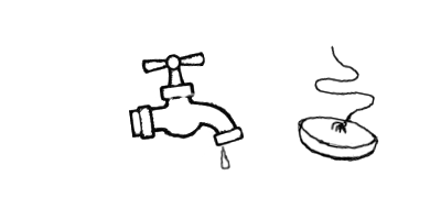 a tap, or faucet, and a plug
